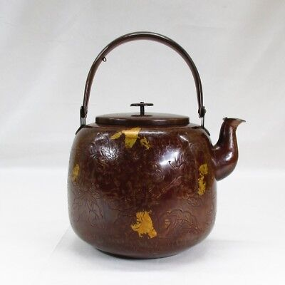 G582: Popular Japanese copper ware kettle with fine carving pattern and plating