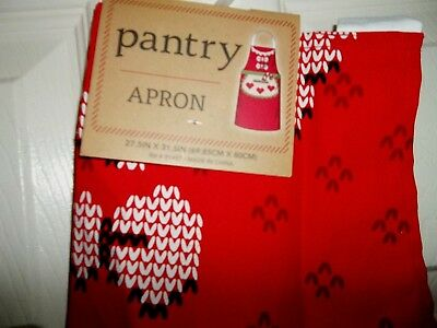 """nwt-Adult-Cotton-Full-Pantry Apron-Pocket-27.5""""X31.5""""-Christmas-Cooking-Crafts-R"""