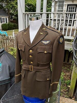 WWII 8th AF Officers Bombardier jacket British made combat wings sz 40