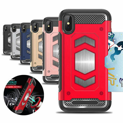 Rugged Hybrid Magnetic Shockproof Card Holder Case Cover for iPhone Xs Max 7 8 6