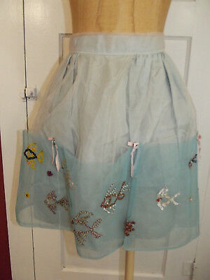 True Vtg 1950s Tulle Sequined Kitchen Apron Blue Sequined Fish Pattern Handmade