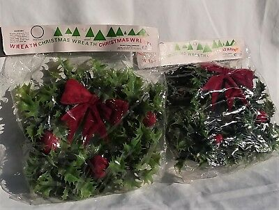 Vtg./New 2 Christmas Wreaths Red Flocked Bow & Apples Holly Greenery 1950s 10""