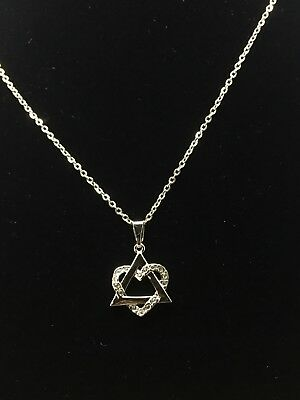 Star Of David Heart With Stones Pendant And Necklace rhodium Plating 18""