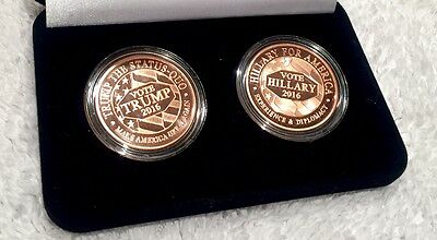 TRUMP vs HILLARY - 2016 USA HISTORIC SET - Two POLISHED .999 Copper Coins in BOX