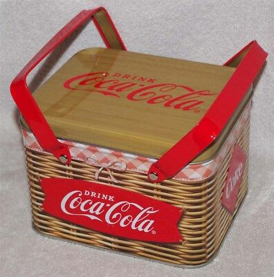 Coca-Cola Picnic Basket Tin With Handles, Lovely Retro Basket Weave Design, New!