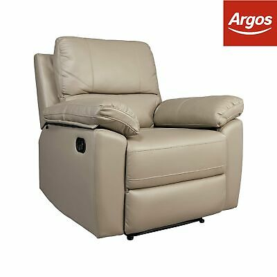 Argos Home Toby Faux Leather Manual Recliner Chair - Grey