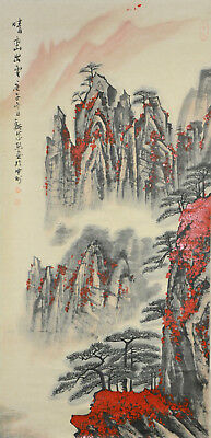 Vintage Chinese Watercolor MOUNTAIN Wall Hanging Scroll Painting - Wei Zixi