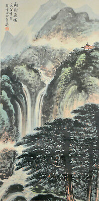 Vintage Chinese Watercolor MOUNTAIN AFTER STORM Wall Hanging Scroll Painting