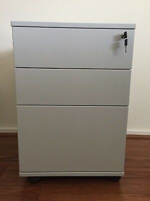 3 Drawer Cabinet Chest Filling Document Mobile Pedestal With Wheels - Light Grey