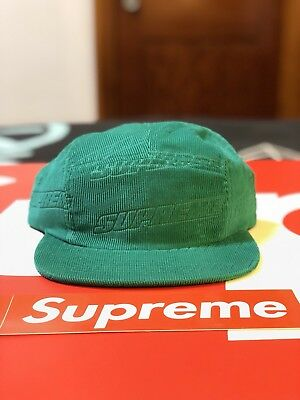362a8046c66 Supreme Embossed Logo Corduroy Camp Cap (Teal) Ss18 Brooklyn Box Logo Tee