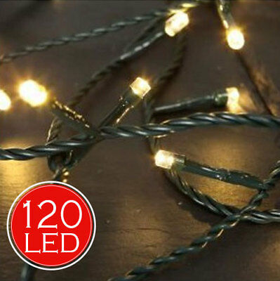 Catena Luminosa 14,5 mt Luci Natale 120 LED Bianco Caldo Luminar Interno Esterno