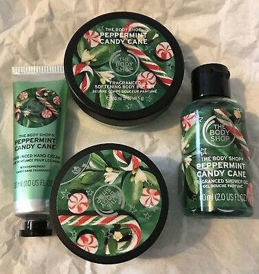 New Xmas 18 Bodyshop Peppermint Candy Cane Gift Set New