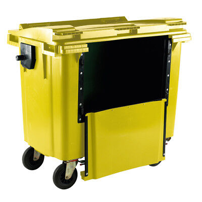 Yellow 1100 Litre Wheeled Bin With Drop Down Front and Flat Lid 377977
