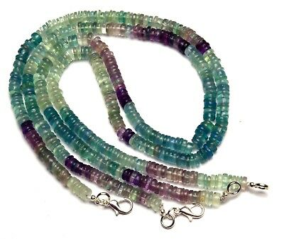 """Natural Gem Multi-color Fluorite 6MM Smooth Rondelle Heishi Beads Necklace 17"""""""
