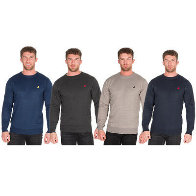 Pierre Roche Mens Long Sleeve Crew Neck Knitted Jumper Emblem Smart Casual Gift