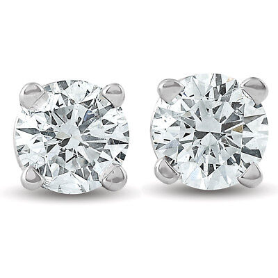 .33Ct Round Brilliant Cut Natural Diamond Stud Earrings In 14K Gold