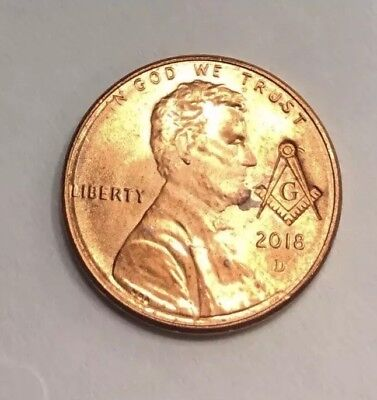 Masonic Freemason Compass And Square stamped on Any Lincoln Penny