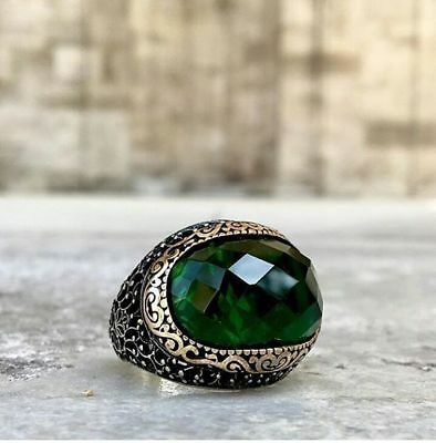 Handcraft Turkish 925 Sterling Silver Jewelry Emerald Men's  Ring