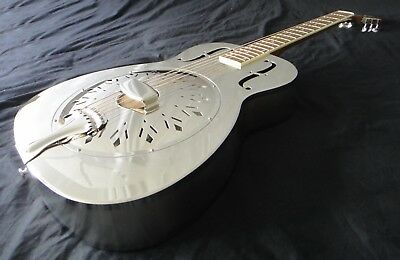Duolian 'O' Style Resonator Guitar - Chrome/Nickel Body with Hawaiian Graphic