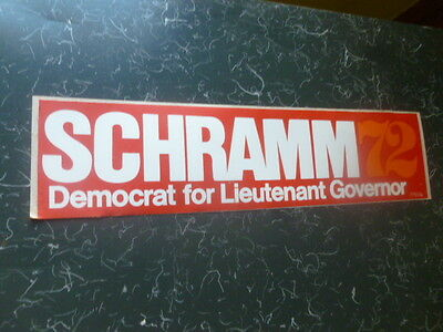 Jack Schramm Missouri Campaign 1972 Bumper Sticker Local Lieutenant Governor
