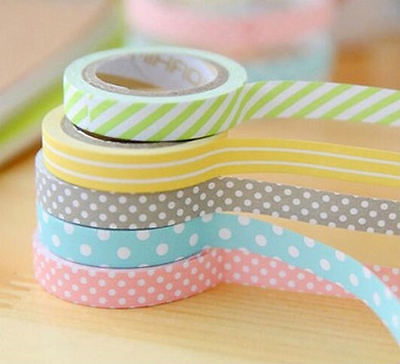 Set 5 nastri di carta in fantasia mista  8mmx5mt - Washi tape Scrapbooking