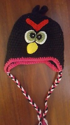 ANGRY BIRDS Baby Girl Kids Warm Beanie Knit Hat Cap Black & Pink