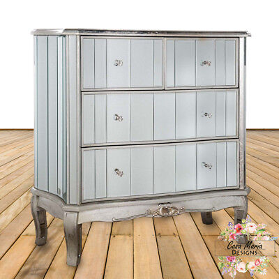 Antique French Mirrored 4 Drawer Chest of Drawers Shabby Chic Vintage Assembled
