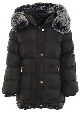 Girl's Faux Fur Hooded Fleece Lined  Puffer Padded Long Parka Jacket Quilted Fis