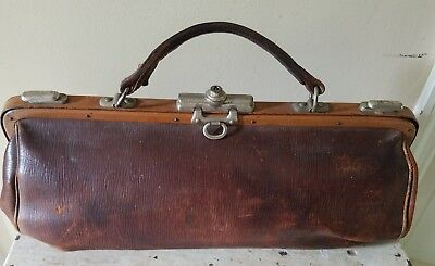 Antique French Leather and Metal Doctor's Medicine Bag.  1920's