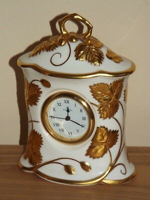 Minton Victoria Strawberry Gold English Fine Bone China Mantle Clock 1st.