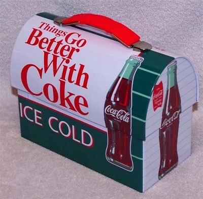 """Coca-Cola """"things Go Better With Coke"""" Workmans Carry-All Metal Lunch Box, New!"""