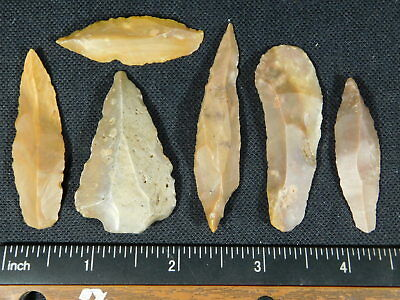 Lot of SIX 9,000 to 4,000 Year Old Lithic Artifacts Bir Gandus Morocco 37.9gr e