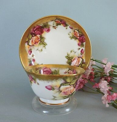 Royal Chelsea  England Cup & saucer  Golden Roses