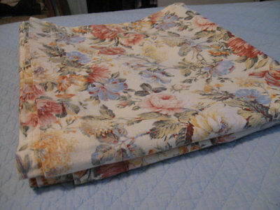 Vintage Floral Curtain Pair Cotton Linen 2 Panels Excellent Tiers Drapes