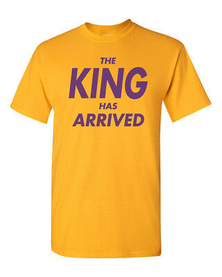 The King Has Arrived Men's Heavy Cotton T-Shirt Lakers Tee New - Gold w/ Purple