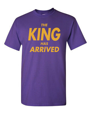 The King Has Arrived Men's Heavy Cotton T-Shirt Lakers Tee - Purple w/ Yellow