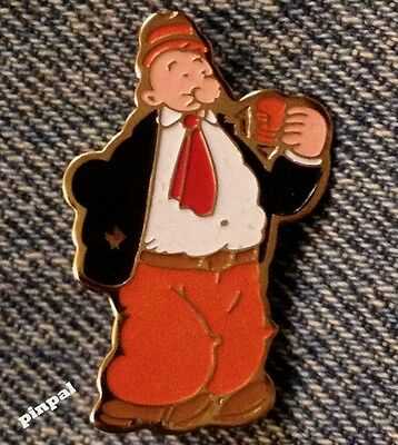 J Wellington Wimpy Brooch Pin~Eating a Hamburger~80's vintage~King Features