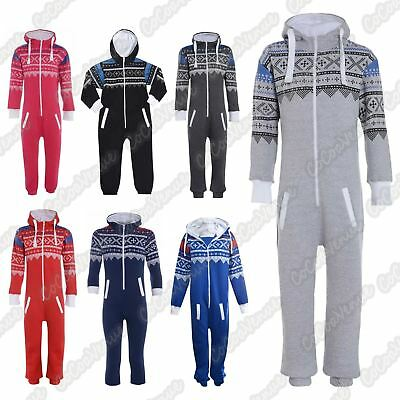 New Unisex Girls Boys Kids Hooded Aztec Print All In One Zip Up Jumpsuit