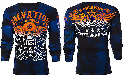ARCHAIC by AFFLICTION Mens LONG SLEEVE THERMAL Shirt BLACK TIDE Skull $58 c