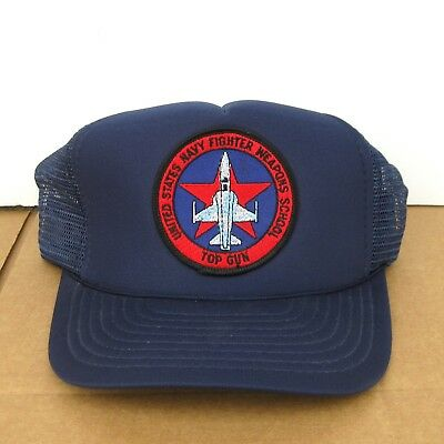 aaff37dadfb Vintage U.S. Navy Top Gun Fighter Weapons School Snapback Trucker Hat Blue  80s