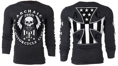ARCHAIC by AFFLICTION Mens THERMAL T-Shirt MOTOR American Customs Biker $58