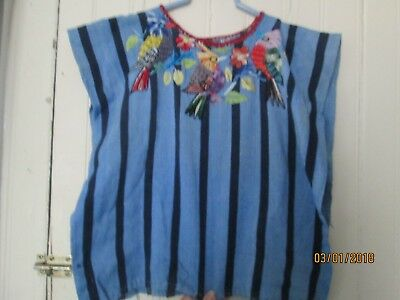 Small Blue striped Vintage shirt textile Birds Embroidered Huipil Top Guatemala