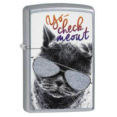 Zippo 29619 Classic Cat with Glasses Street Chrome Pocket Lighter