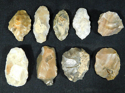 Lot of NINE 55,000 to 12,000 Year Old Early Man Lithic Aterian Arifacts! 152gr