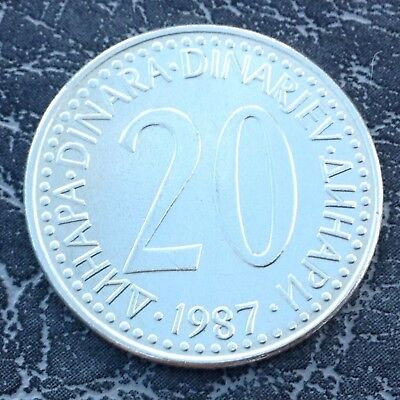 1987 20 Dinara coin from Yugoslavia Good Grade