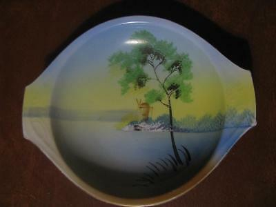 Vintage Hand Painted Dutch Windmill Scene Meito China Candy Dish Made in Japan