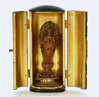1930's Japanese Wood Lacquer Buddha Kannon Mini Temple Altar Shrine Zushi Box