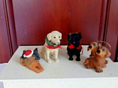 "LOT OF 4 Vtg Dog figurines 2 are bobble head  approximately 4"" Decorations"