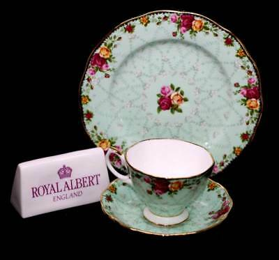 Vintage Royal Albert Old Country Roses Peppermint Damask teacup trio set