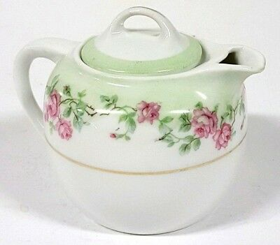 Creamer Pitcher Hand Painted Germany Labeled w/Lid Pink Rose Floral Flowers